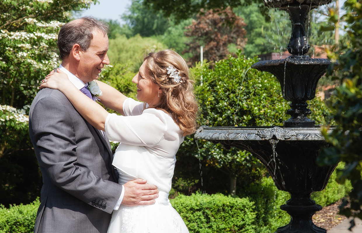 Bride and Groom, Fountain at Silvermere