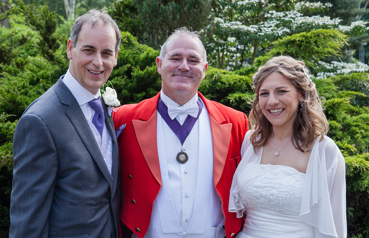 Bride, Groom and Master of ceremonies at Silvermere